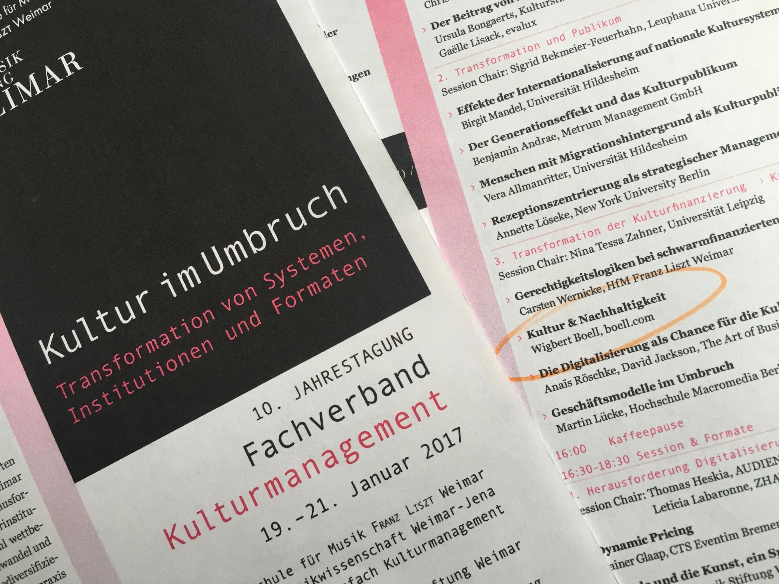 """""""Kultur im Umbruch"""" – Kultur & Nachhaltigkeit"""
