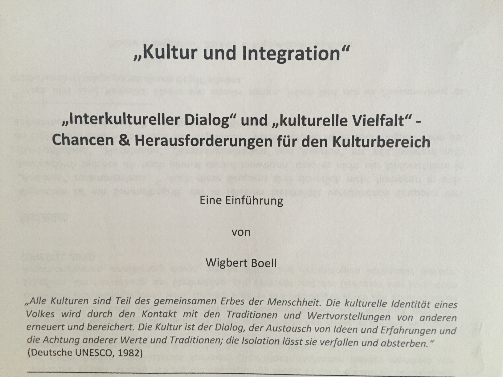 Kultur & Integration - von Wigbert Boell
